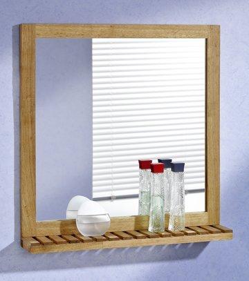 Wandspiegel, muurspiegel uit walnotenhout, met plankje