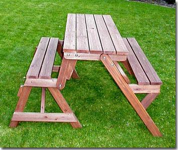 2 in 1 tuinbank en picknicktafel