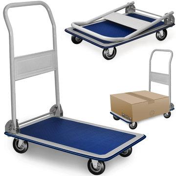 Inklapbare metalen plateauwagen, plaatwagen, platformwagen, transportkar max. 150 kg