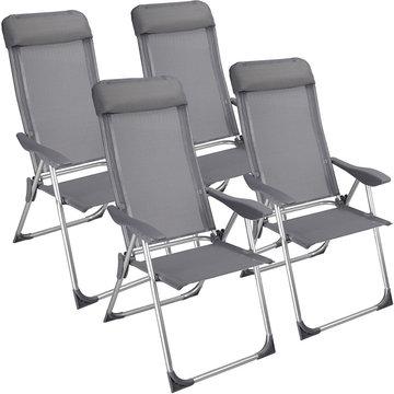 Set van 4 inklapbare aluminium tuinstoelen, campingstoelen, vouwstoelen