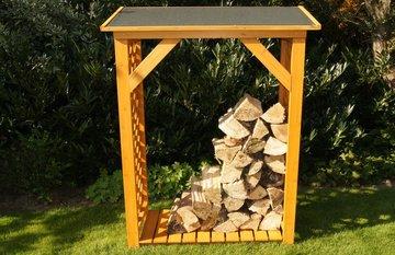 Brandhoutrek, houten rek voor brandhout, 148 x 119 x 45 cm