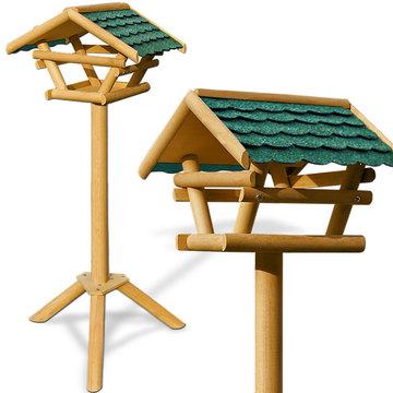 Vrijstaand vogelhuisje met groen dak, voederhuis