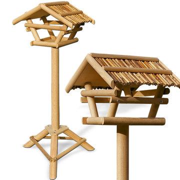 Vrijstaand vogelhuisje met bamboe dak, voederhuis