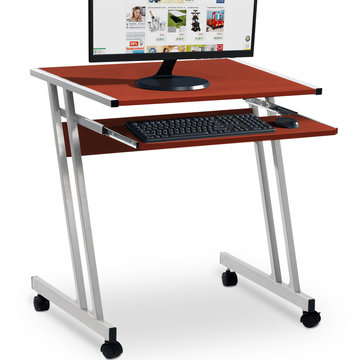 Computertafel op wieltjes, verrijdbaar bureau, kastanjebruin
