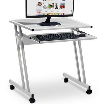 Computertafel op wieltjes, verrijdbaar bureau, wit
