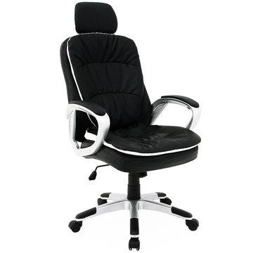 Bureaustoel met flexibele hoofdsteun, directiestoel, kantoorstoel, zwart