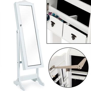 Spiegelkast, sieradenkast, spiegel, met laden, wit