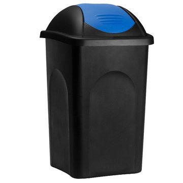 Vuilnisbak, vuilnisemmer, prullenbak 60 L, zwart/blauw