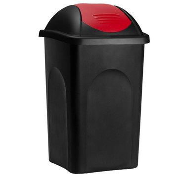 Vuilnisbak, vuilnisemmer, prullenbak 60 L, zwart/rood