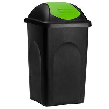 Vuilnisbak, vuilnisemmer, prullenbak 60 L, zwart/groen