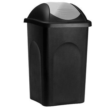 Vuilnisbak, vuilnisemmer, prullenbak 60 L, zwart/zilver
