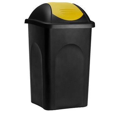 Vuilnisbak, vuilnisemmer, prullenbak 60 L, zwart/geel