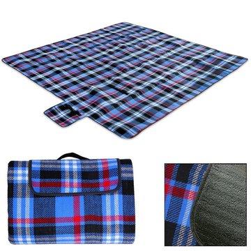 Picknick deken, strandlaken, onderdeken, 2x2 meter zwart/blauw geruit