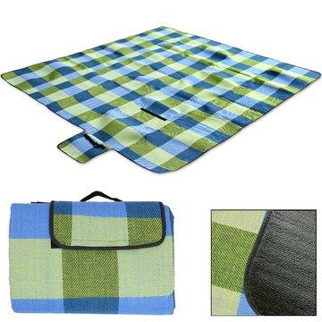 Picknick deken, strandlaken, onderdeken, 2x2 meter lichtblauw/geel geruit