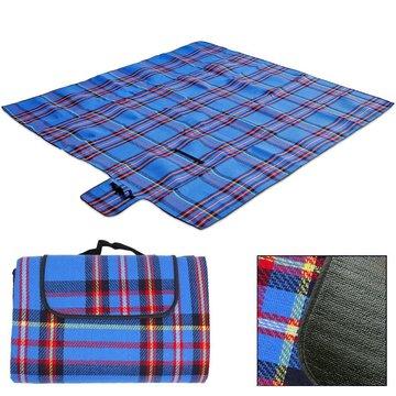 Picknick deken, strandlaken, onderdeken, 2x2 meter Blauw/rood geruit
