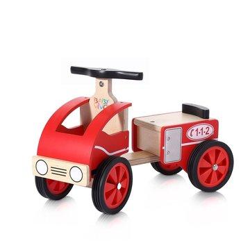 Loopauto, loopwagen van hout, brandweerauto