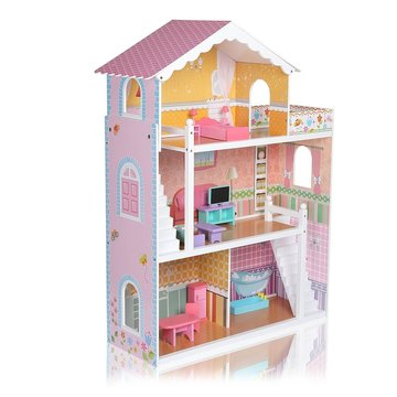 Houten poppenhuis met veel accessoires, 110 cm hoog