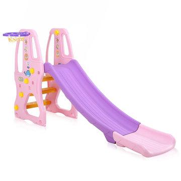 Kinderglijbaan in paars roze met basketbalnet