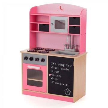 Roze, houten speelkeuken, kinderkeuken met schoolbord