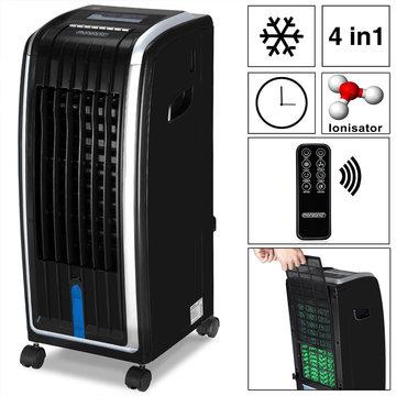 4 in 1 mobiele aircooler met afstandbediening, 7 Liter, ventilator met luchtbevochtiging en luchtzuivering