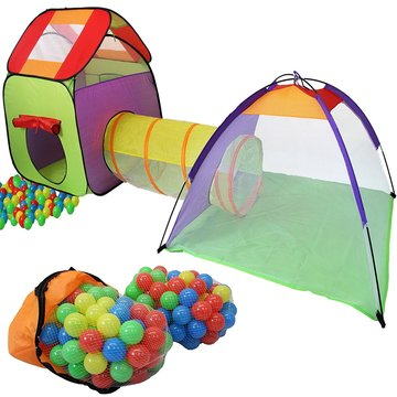 Ballenbad 3-delig met 200 ballen plus tas voor binnen en buiten - huisje-tunnel-koepel
