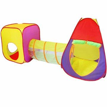 Speeltent 3-delig met draagtas voor binnen en buiten - kubus-tunnel-pyramide