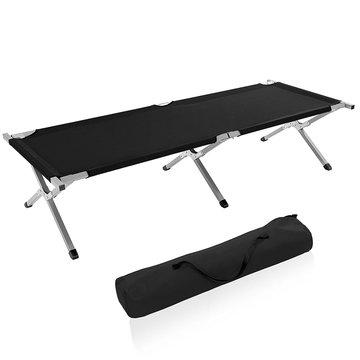 Kampeerbed zwart, campingbed, veldbed, stretcher