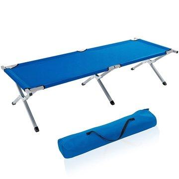 Kampeerbed blauw, campingbed, veldbed, stretcher