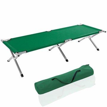 Kampeerbed groen, campingbed, veldbed, stretcher