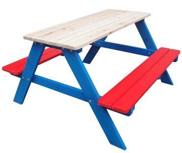 Picknicktafel, picknickbank kinderen, grenen hout, rood, wit, blauw