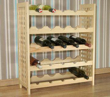 Wijnrek van grenenhout, geschikt voor 25 flessen, stapelbaar