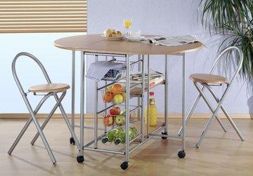 Keukenbar met 2 krukken, inklapbaar en verrijdbaar, keukentafel met voorraadrek, trolley