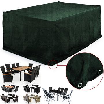 Afdekhoes, beschermhoes voor tuinset, tafel met 8 stoelen, groen