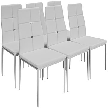 Eetkamerstoelen 6 x, wit, kunstleer, hoge rugleuning, comfortabel