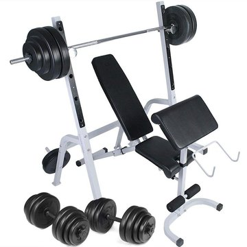 Halterbank, multifunctioneel, met halter, dumbbells