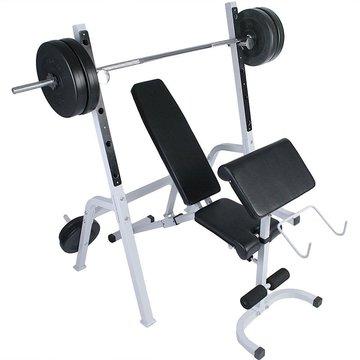Multifunctionele halterbank, met afzonderlijke trainingsban, halterset van 60 kg