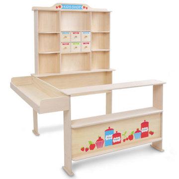 Kinderwinkeltje, houten speelwinkel, supermarkt, marktkraam, speelgoedwinkel