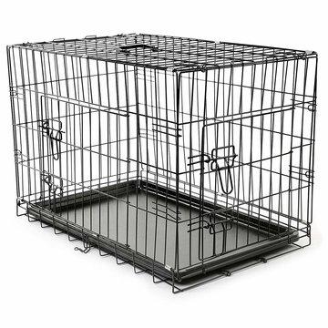 Bench maat M 75 x 46 x 51 cm, transportkooi, hondenbox draadkooi, hondenkooi, autotransportbox, zwart, met 2 deuren, opvouwbaar