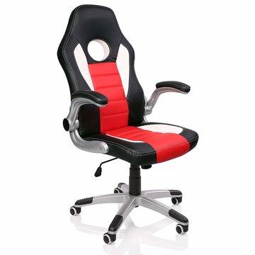 Racing bureaustoel Zwart/Wit/Rood, gevoerde en verstelbare armleuningen, kantelmechanisme,