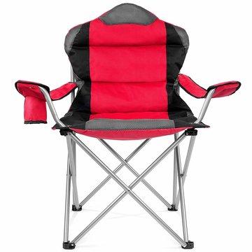 Campingstoel, vouwstoel, festivalstoel, klapstoel, rood, met bekerhouder, opbergtas