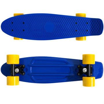 Skateboard, geel/blauw, retro, met PU-dempers