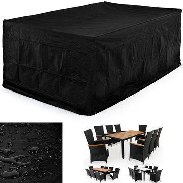 Afdekhoes, beschermhoes voor tuinset, zwart, tafel met 8 stoelen