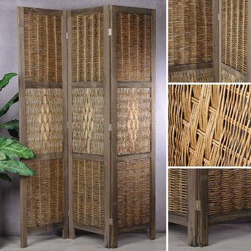 ''Tweede kans artikel'' Kamerscherm landelijke stijl bruin, kamerscheiding, paulownia hout en vlechtwerk