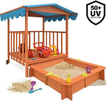 Zandbak, speelveranda, zonnedak, speelplek, afdekbaar