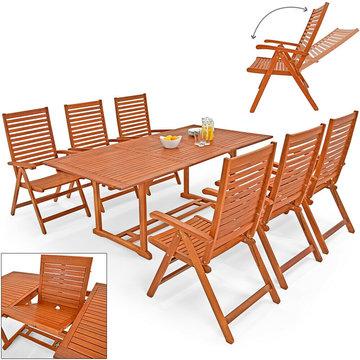 Tuinset, 7-delig, zitgroep, tafel, 6 stoelen, eucalyptushout,