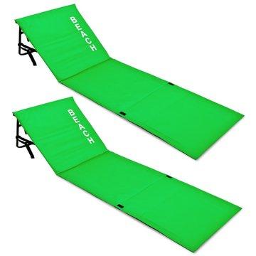 Set strandmatten groen, 2x met rugleuning, strand bed, ligbed