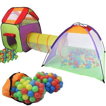 Speeltent met tunnel en 200 ballen, kindertent