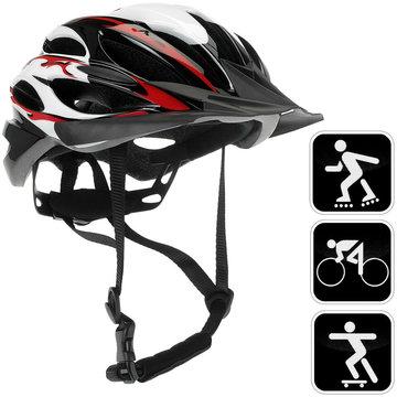 Fietshelm rood/zwart/wit, sporthelm, skatehelm