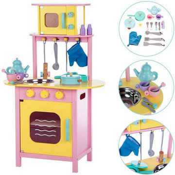 Houten speelkeuken met oven en magnetron, kinderkeuken
