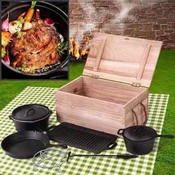 Gietijzeren pannenset, Dutch oven set, kookpot, bakpan, braadpan en grillplaat